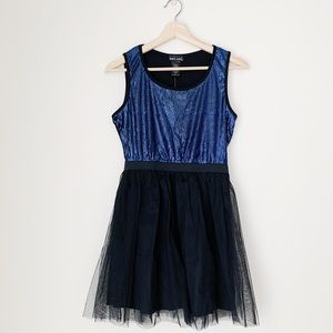 Blue Sequined Black Tulle Dress NWT